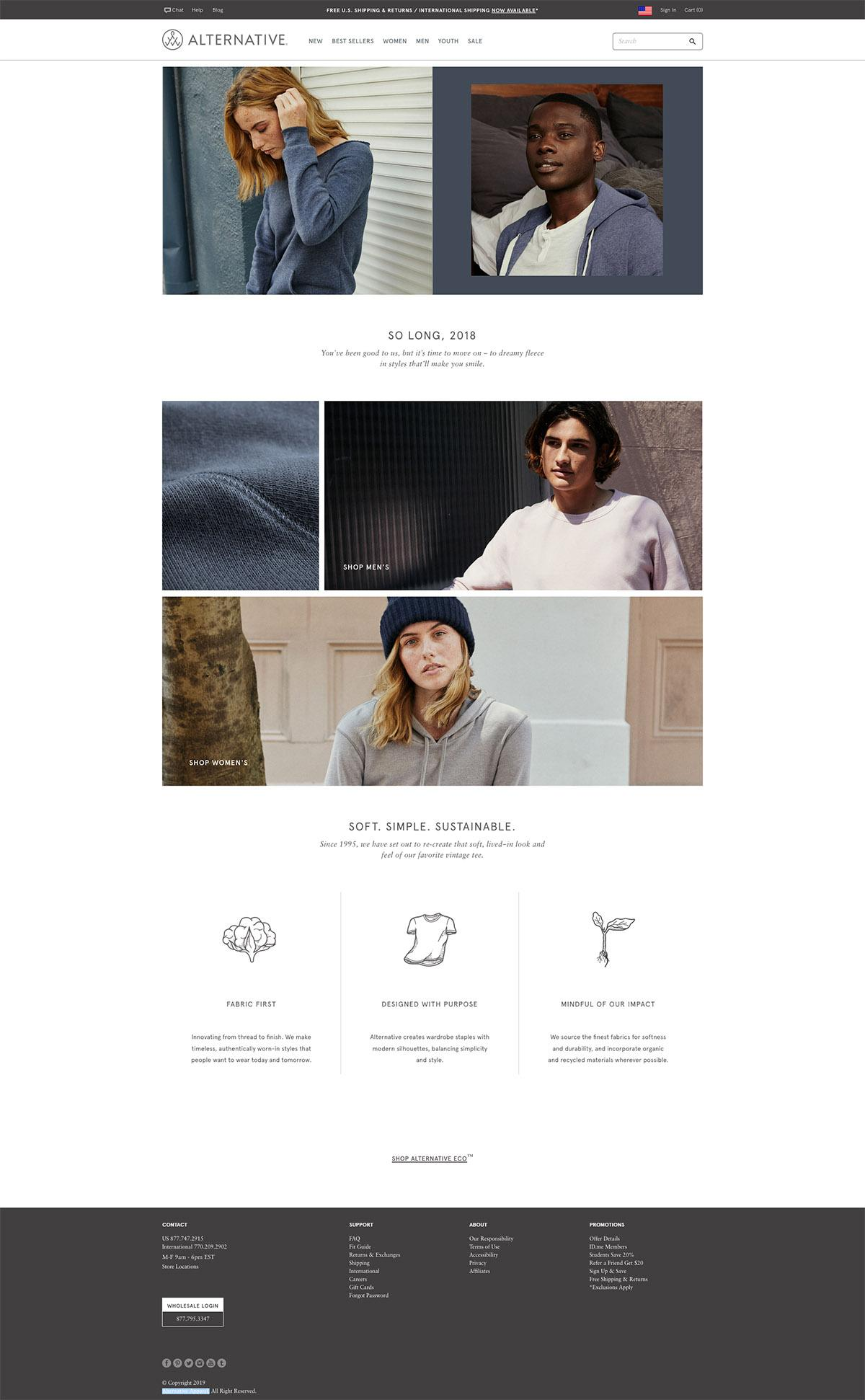 eCommerce website: Alternative Apparel