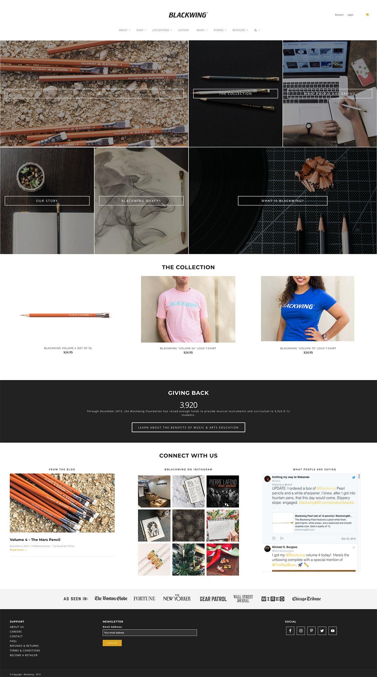 eCommerce website: Blackwing