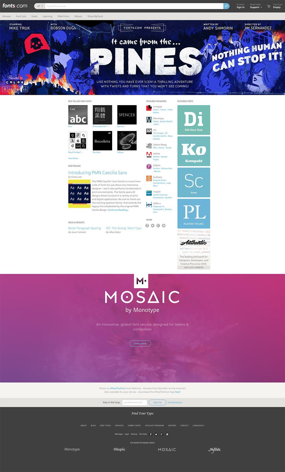 eCommerce website: Fonts.com