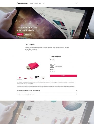 eCommerce website: Luna Display