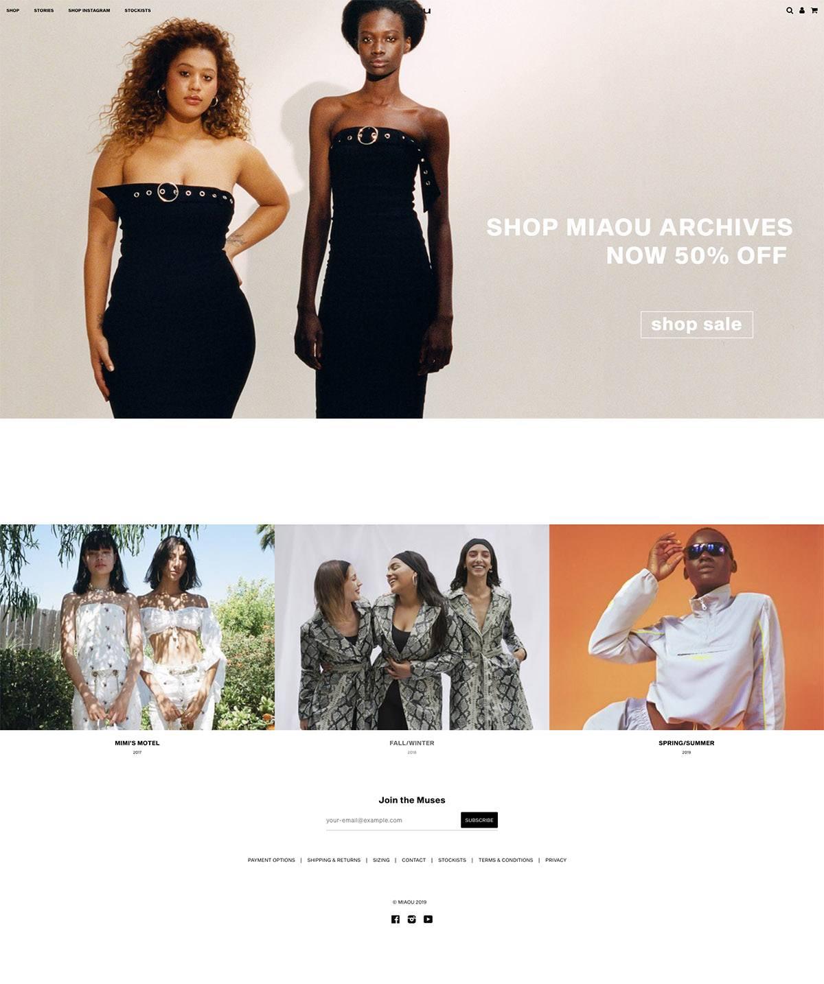eCommerce website: MIAOU