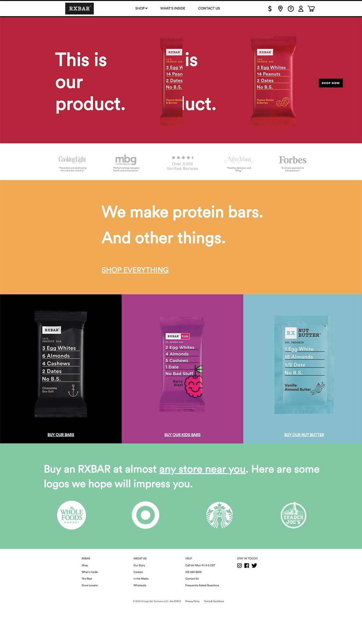 eCommerce website: RXBAR
