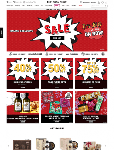 eCommerce website: The Body Shop