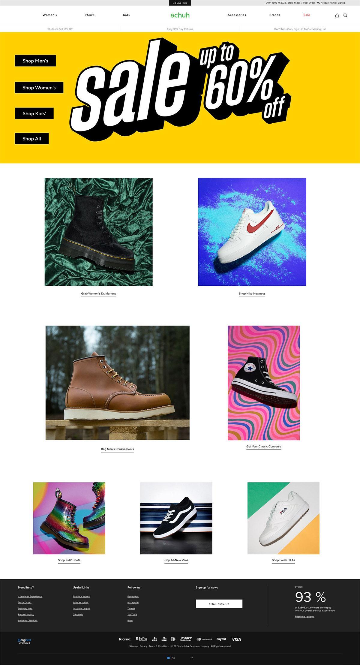 eCommerce website: schuh