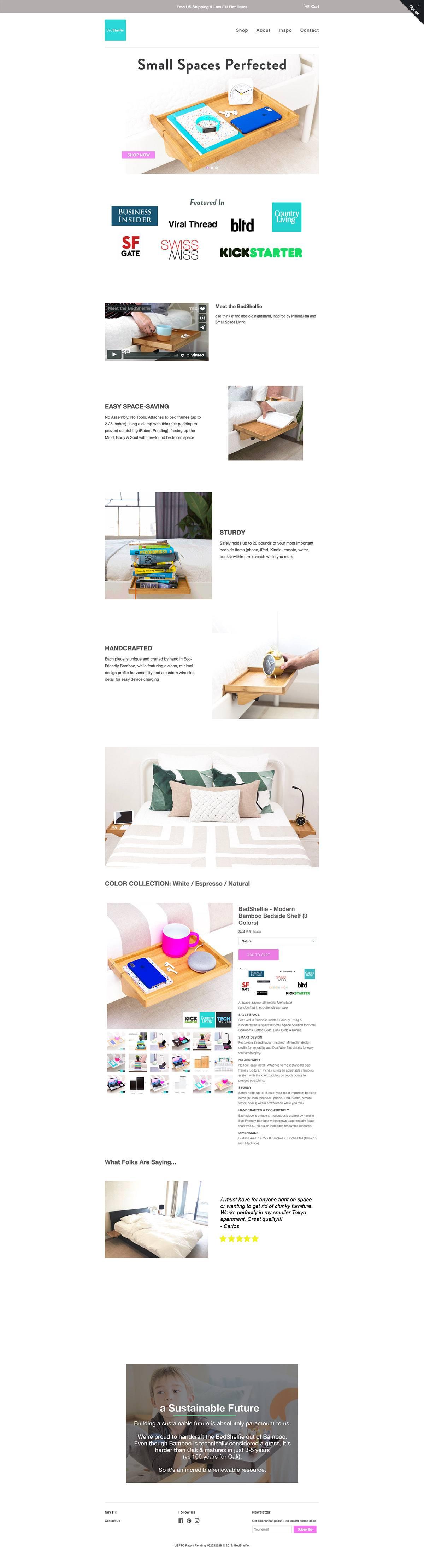 eCommerce website: BedShelfie