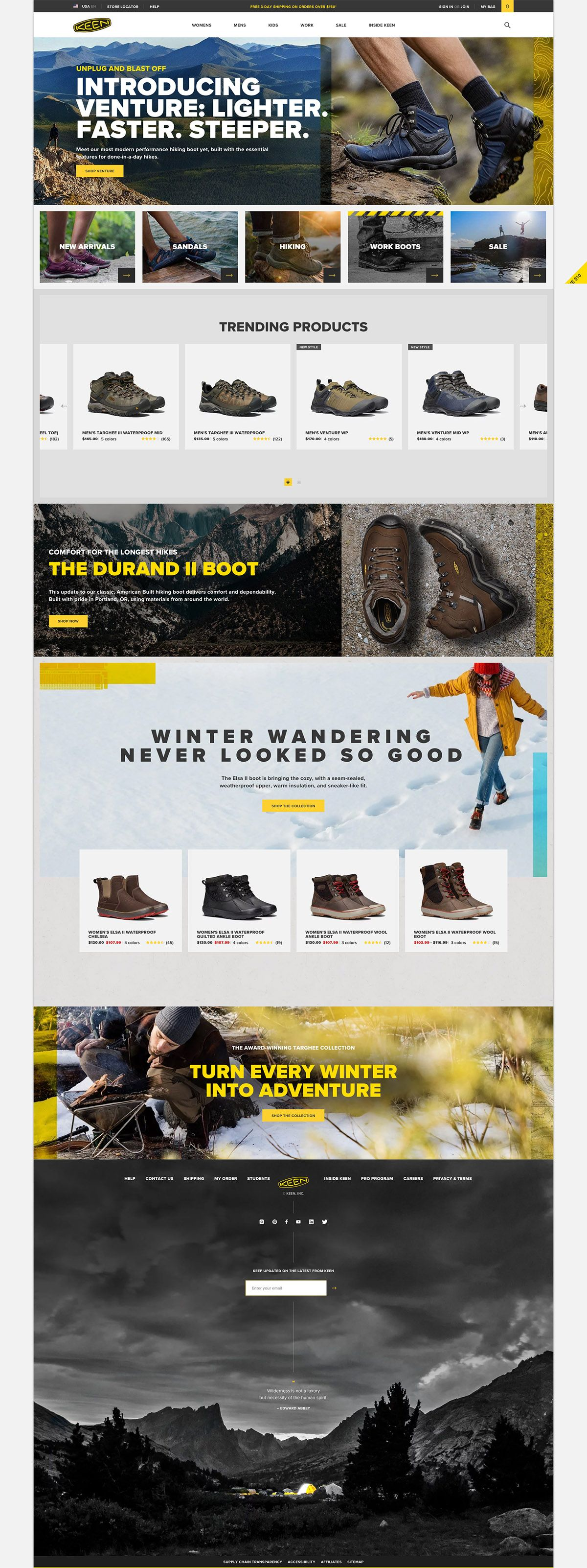eCommerce website: KEEN