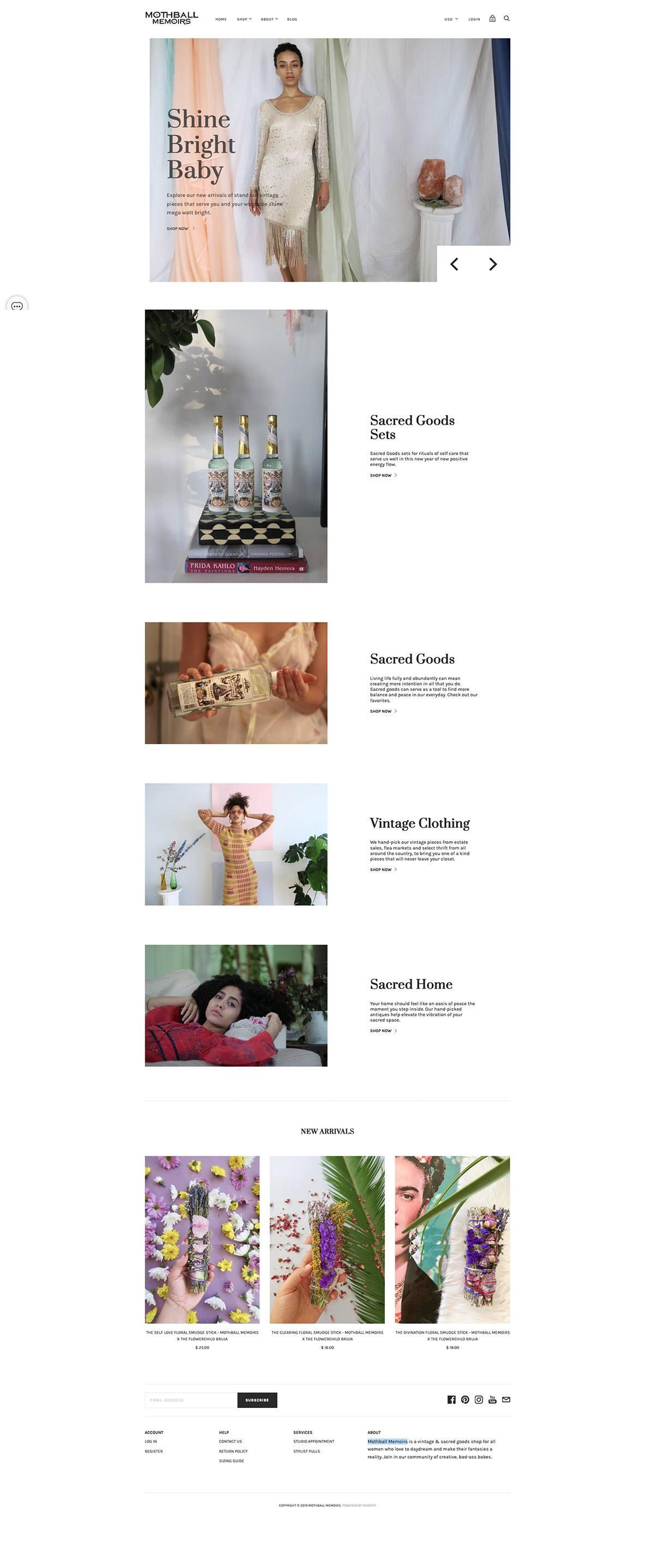 eCommerce website: Mothball Memoirs