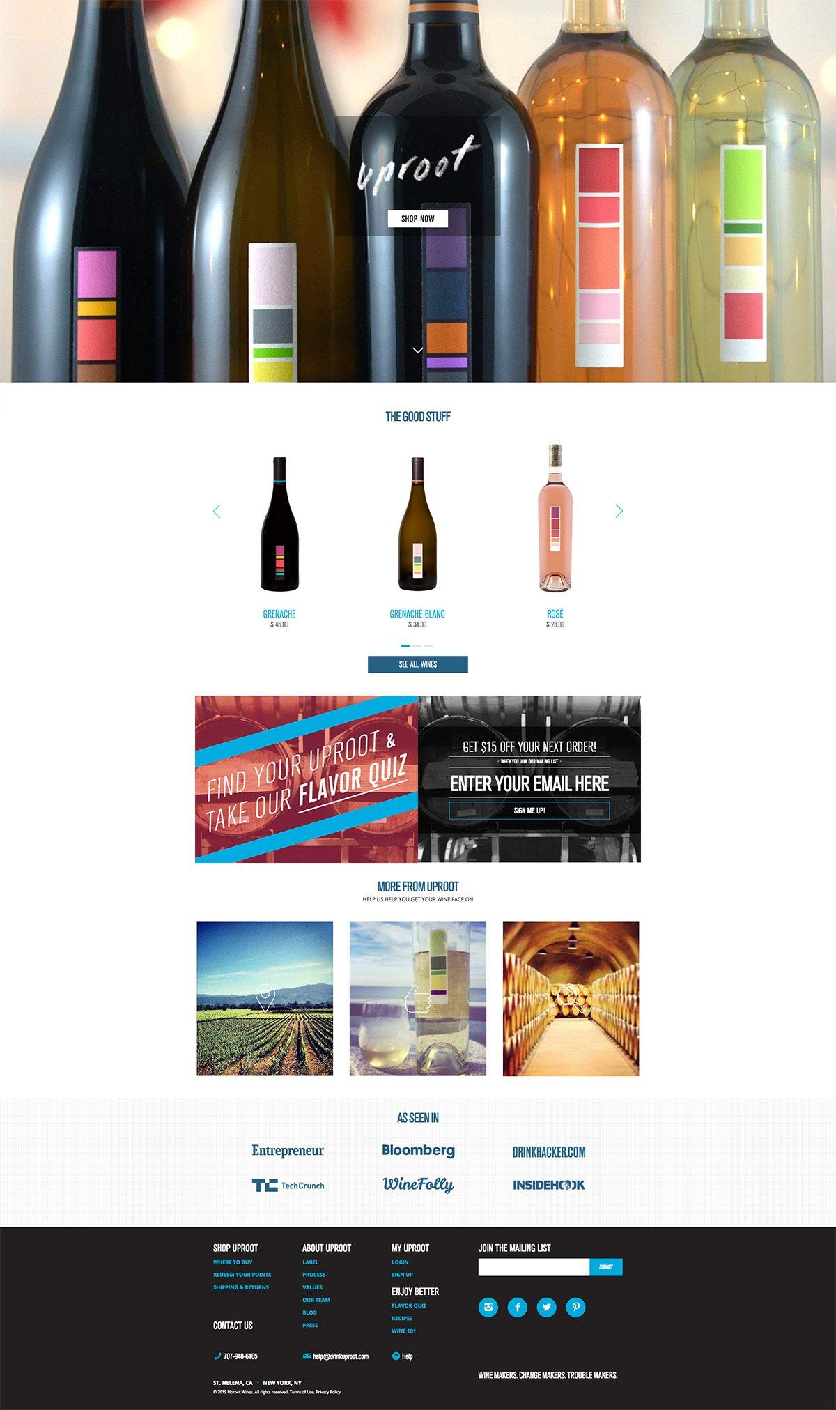 eCommerce website: Uproot Wines