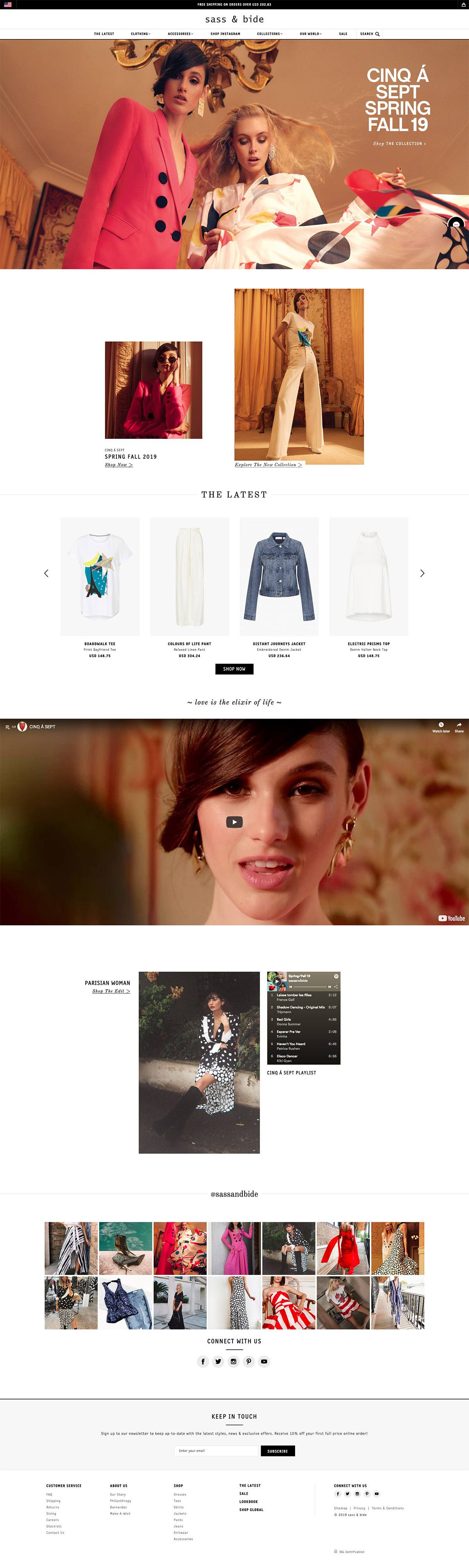 eCommerce website: sass & bide