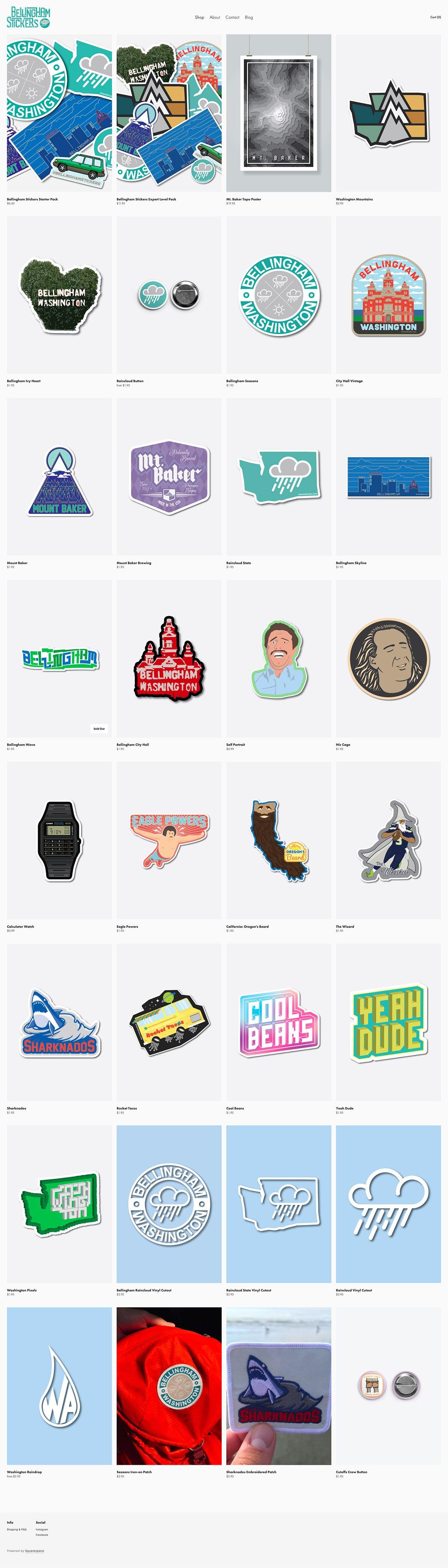 eCommerce website: Bellingham Stickers