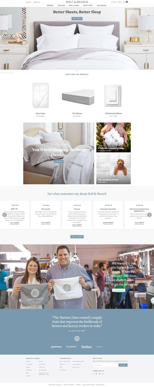 eCommerce website: Boll & Branch