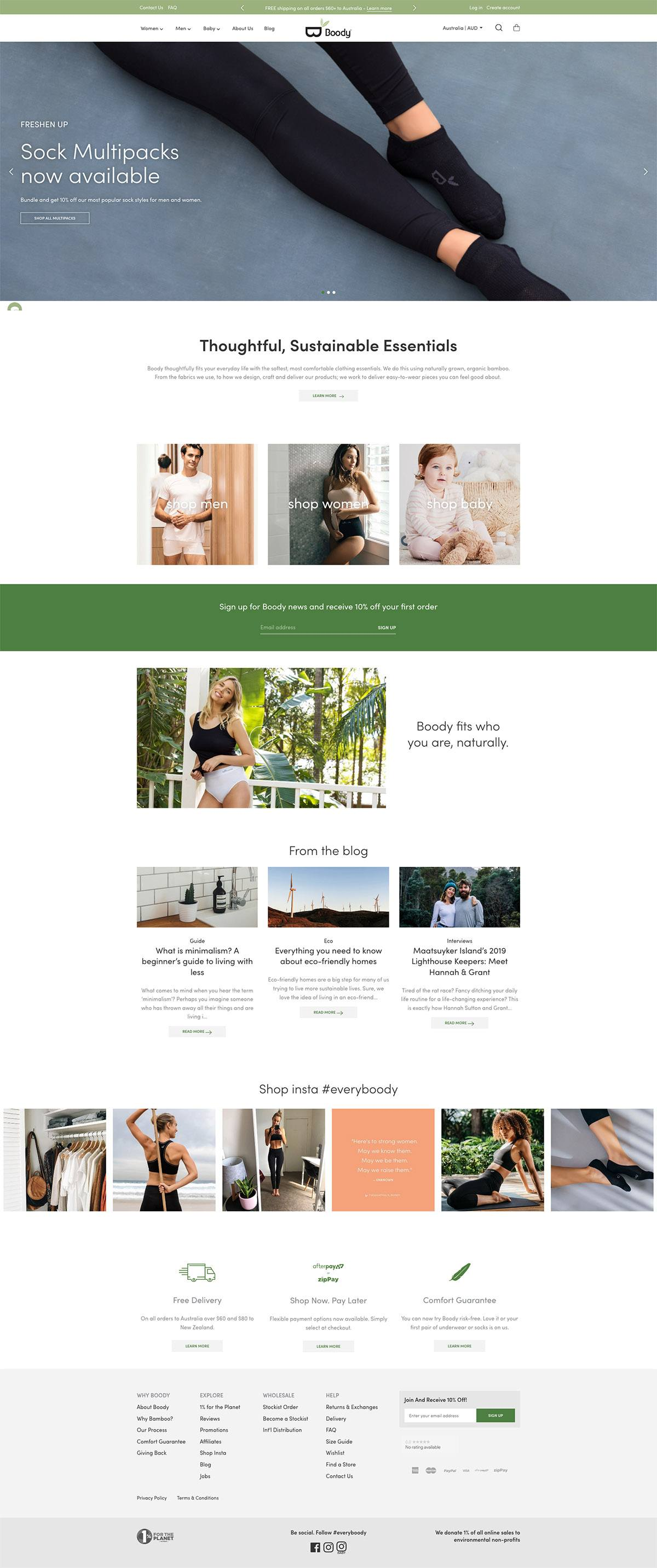 eCommerce website: Boody