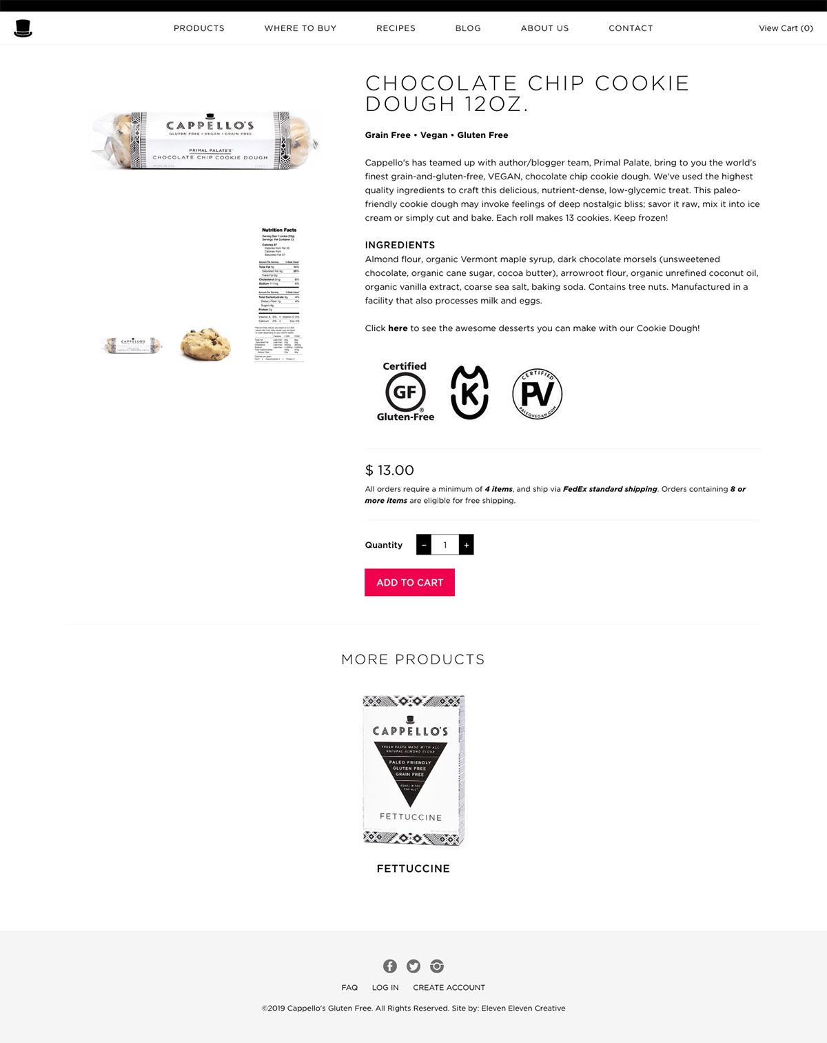 eCommerce website: Cappello's
