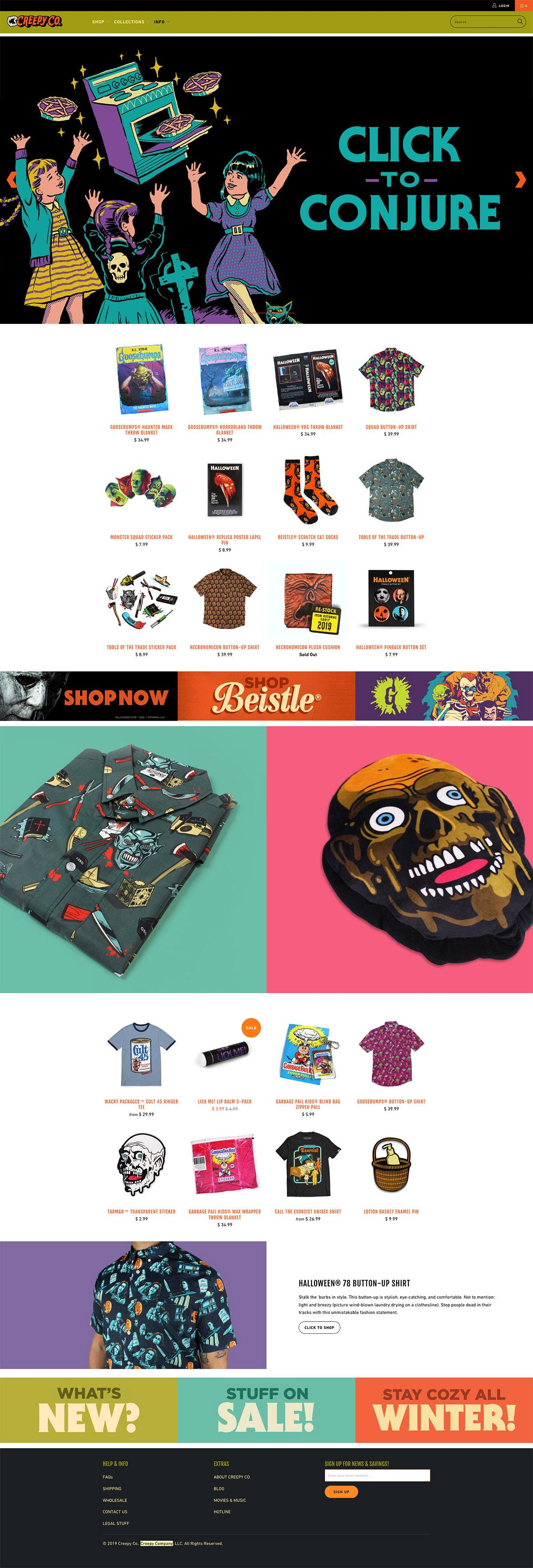 eCommerce website: Creepy Company