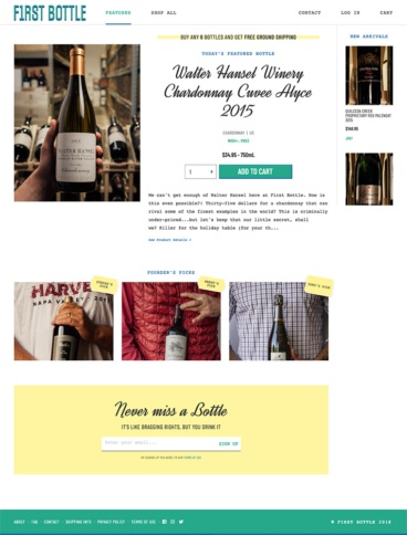 eCommerce website: First Bottle