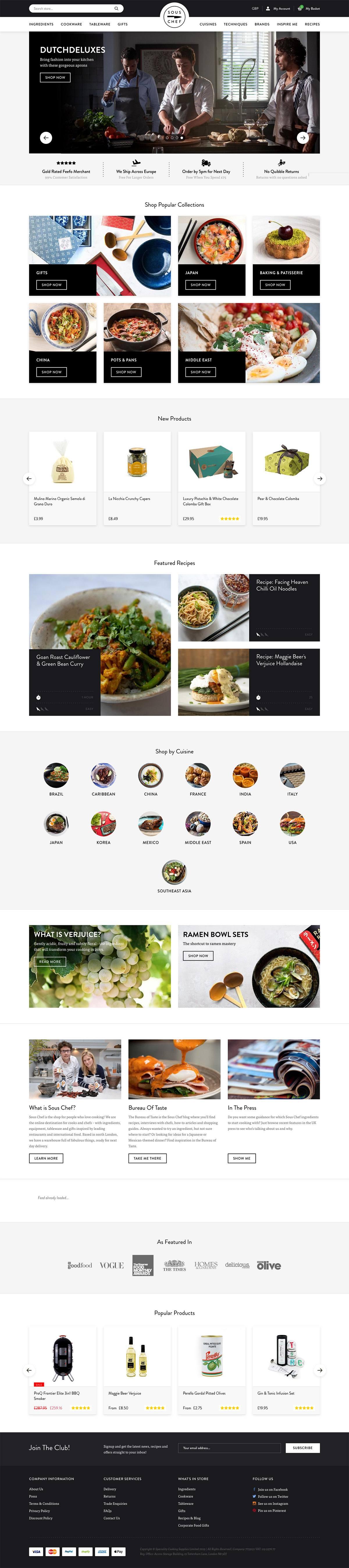 eCommerce website: Sous Chef