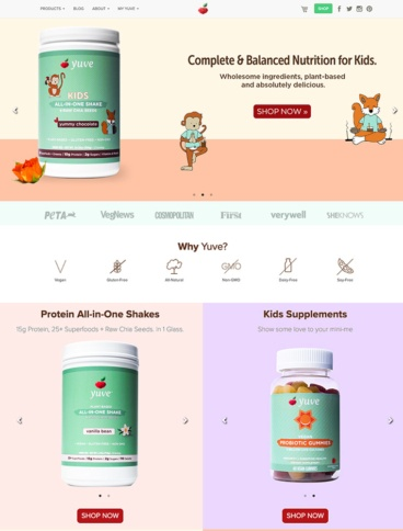 eCommerce website: Yuve