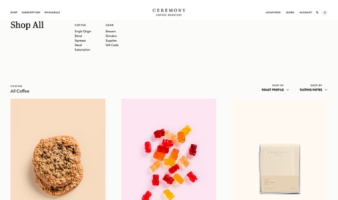 eCommerce website: Ceremony Coffee