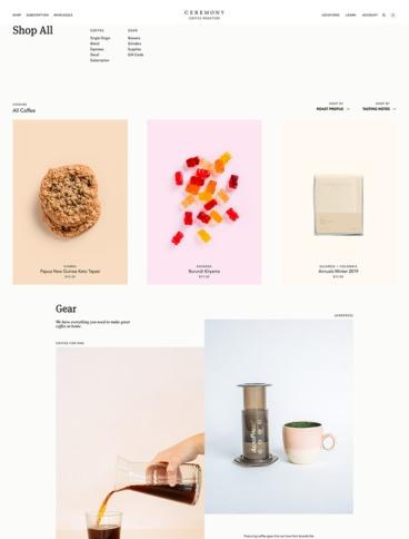 eCommerce website: Ceremony Coffee
