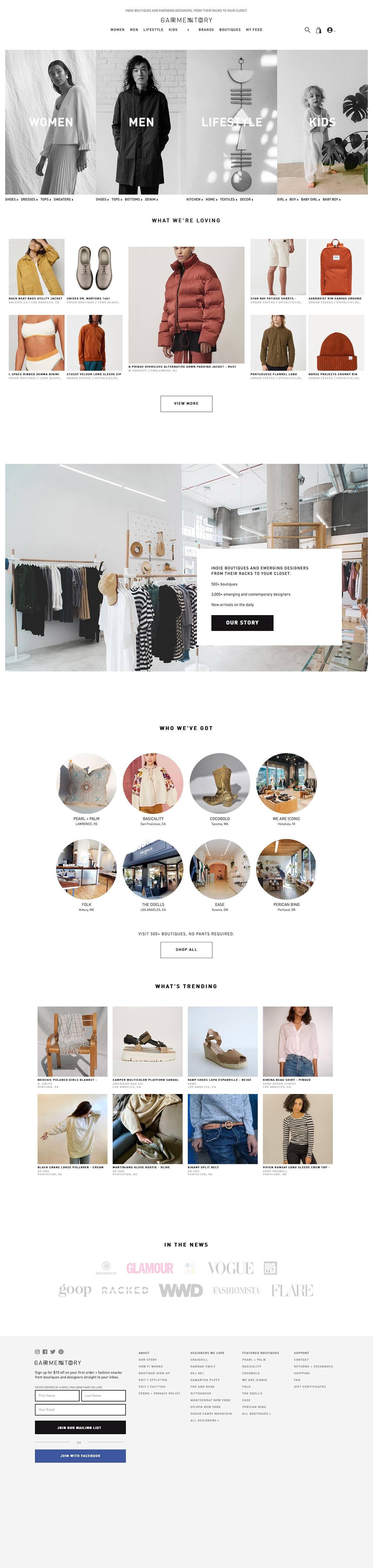 eCommerce website: Garmentory