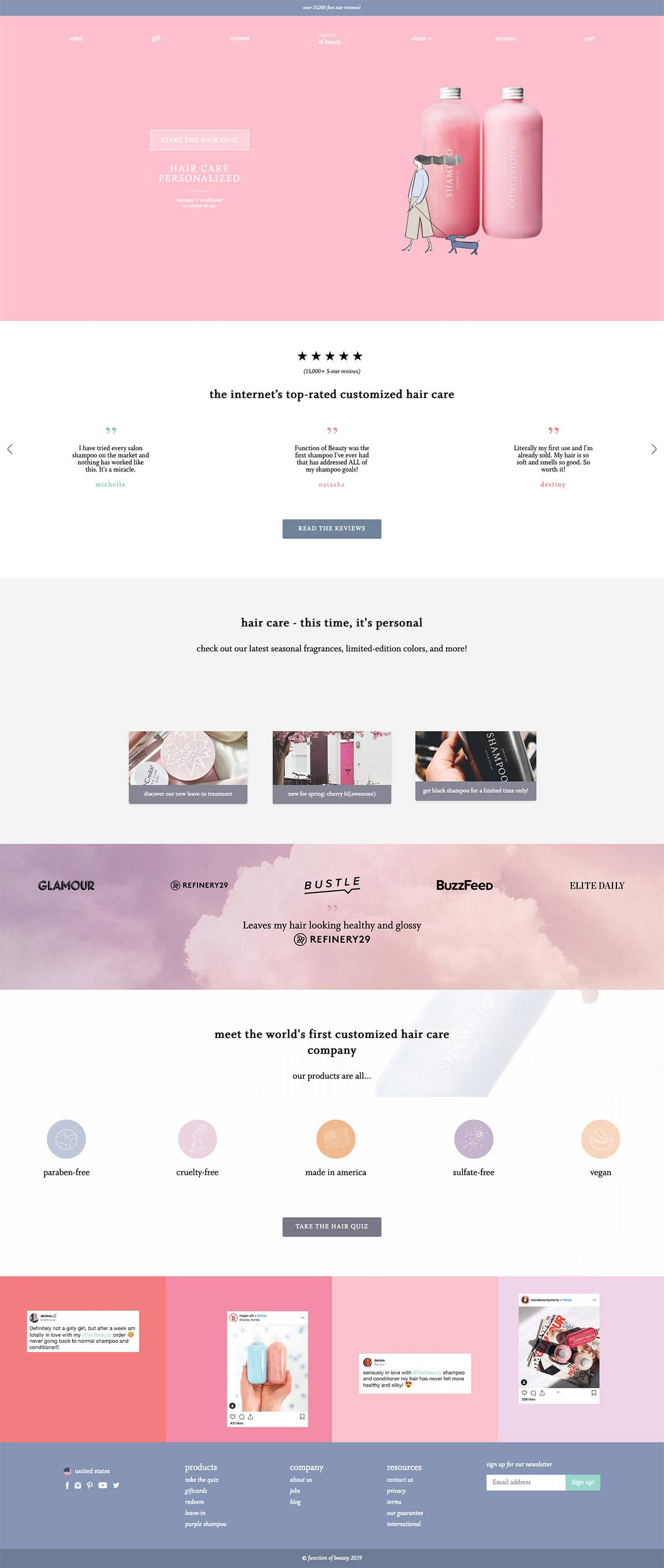 eCommerce website: Function of Beauty