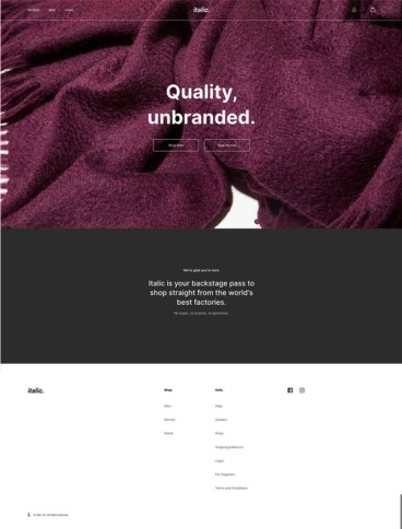 eCommerce website: Italic