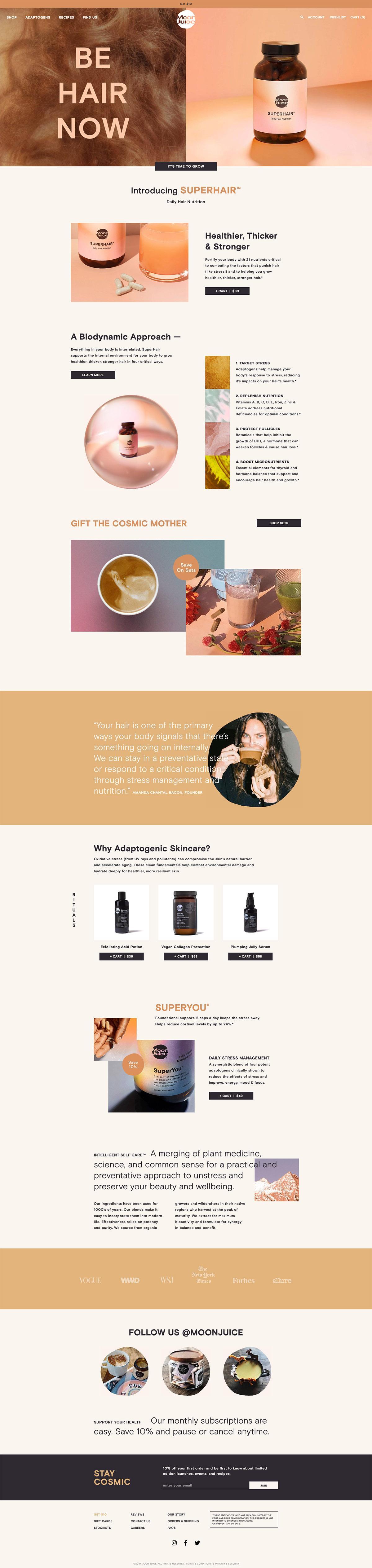 eCommerce website: Moon Juice