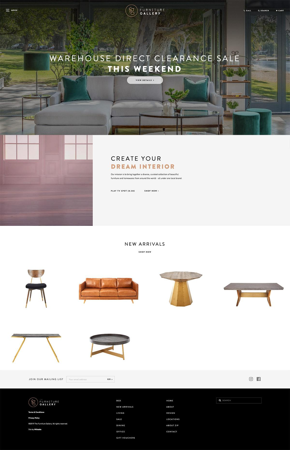 eCommerce website: The Furniture Gallery
