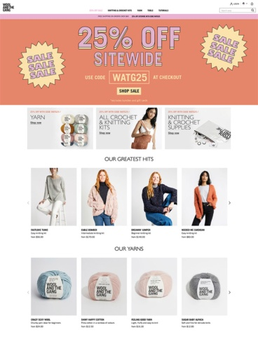 eCommerce website: Wool and The Gang