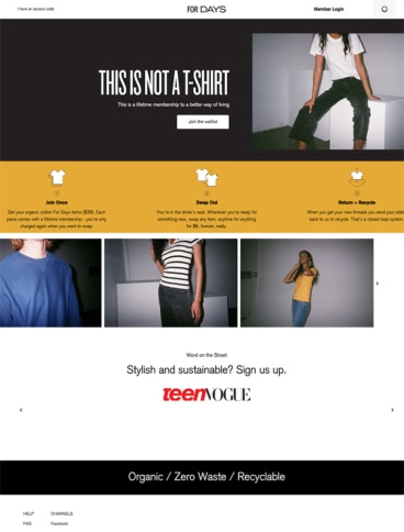eCommerce website: For Days