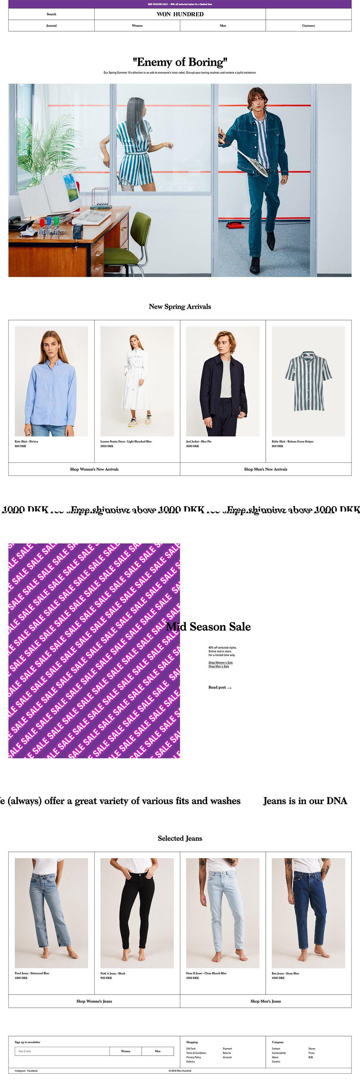 eCommerce website: Won Hundred