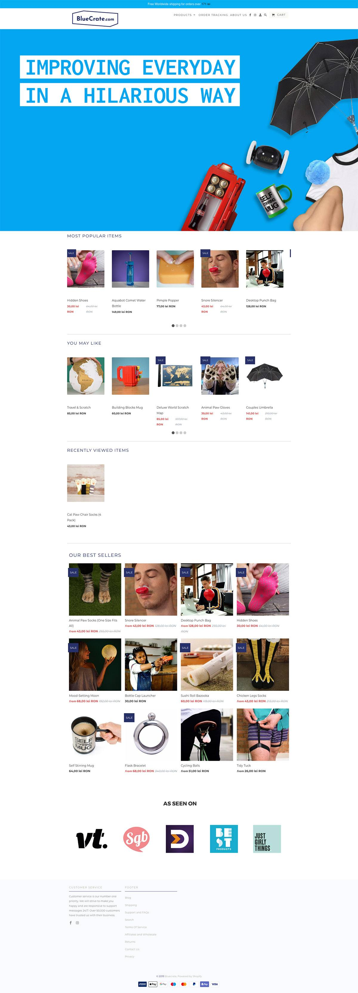 eCommerce website: BlueCrate