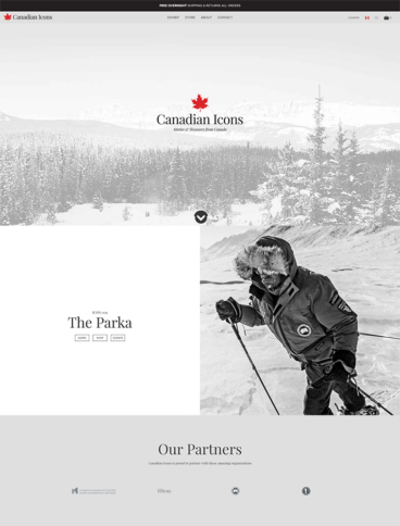 eCommerce website: Canadian Icons