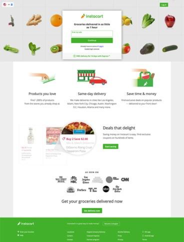 eCommerce website: Instacart