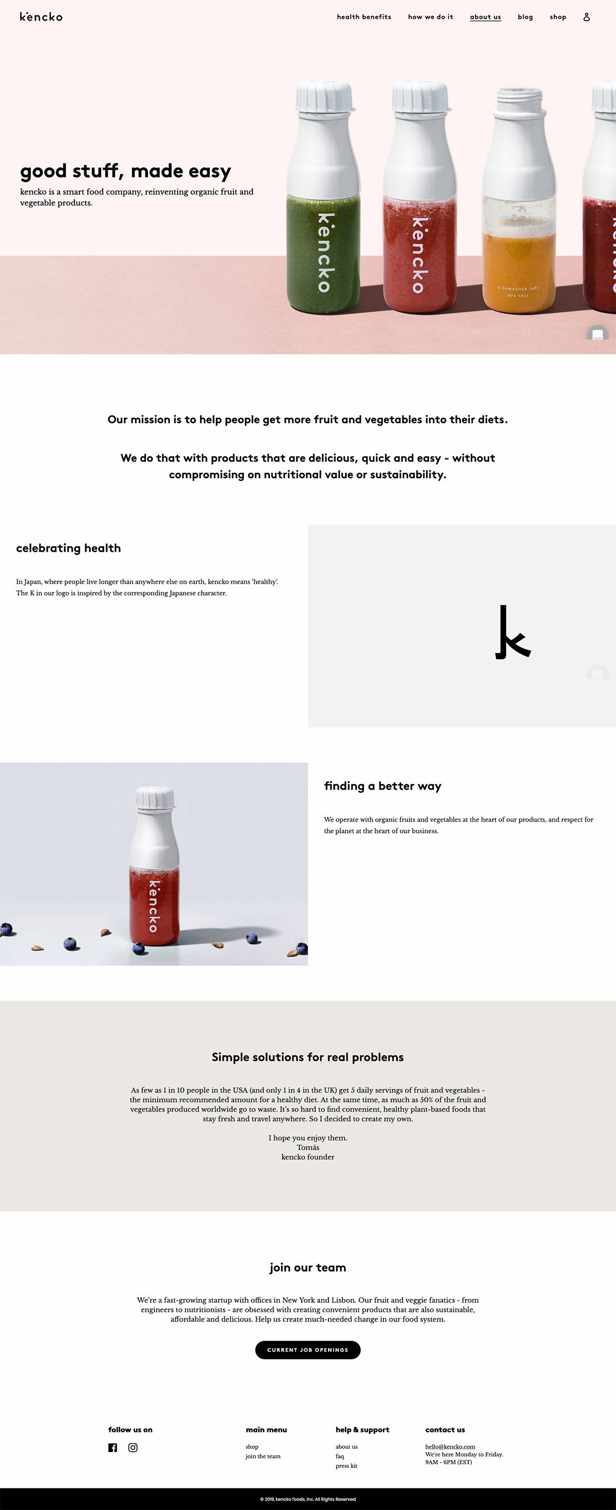 eCommerce website: Kencko