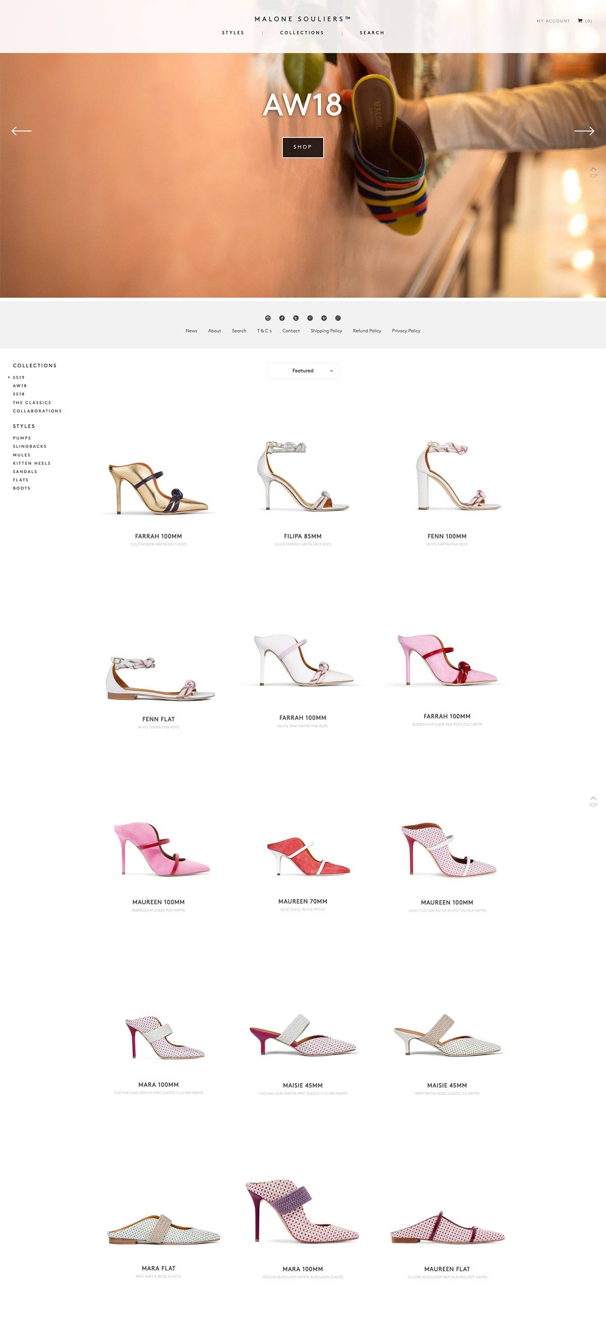 eCommerce website: Malone Souliers