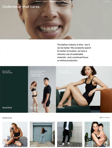 eCommerce website: Organic Basics
