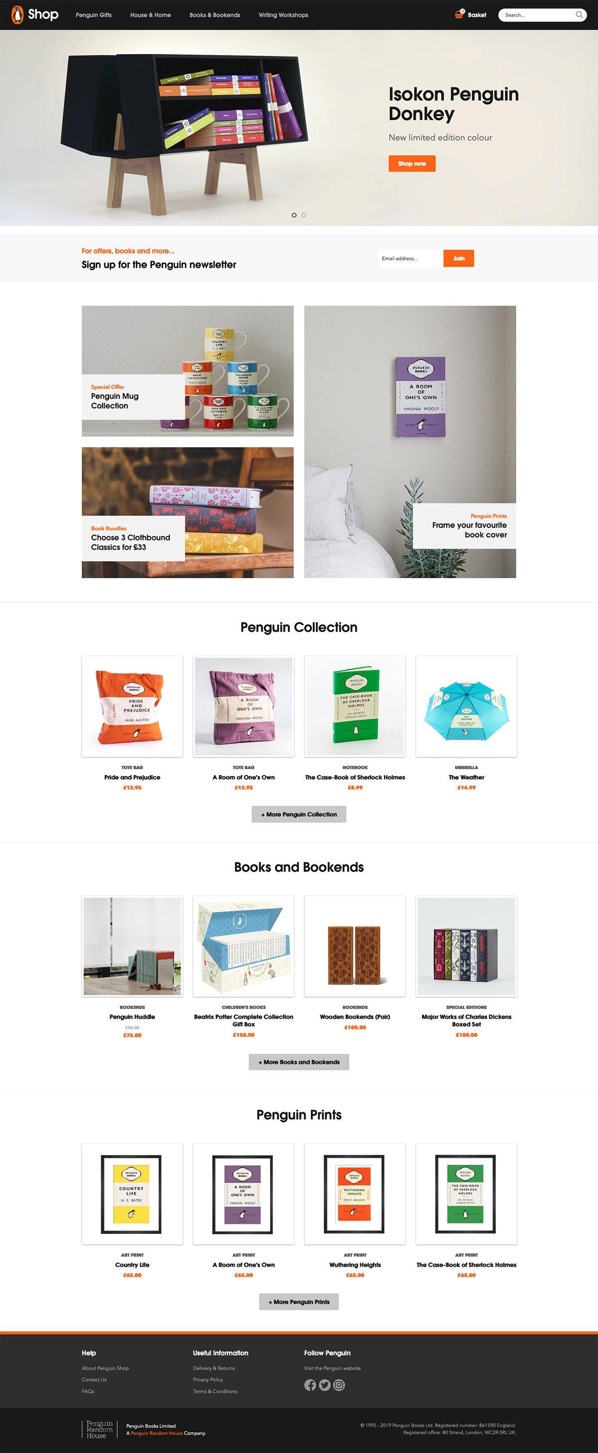 eCommerce website: Penguin Books