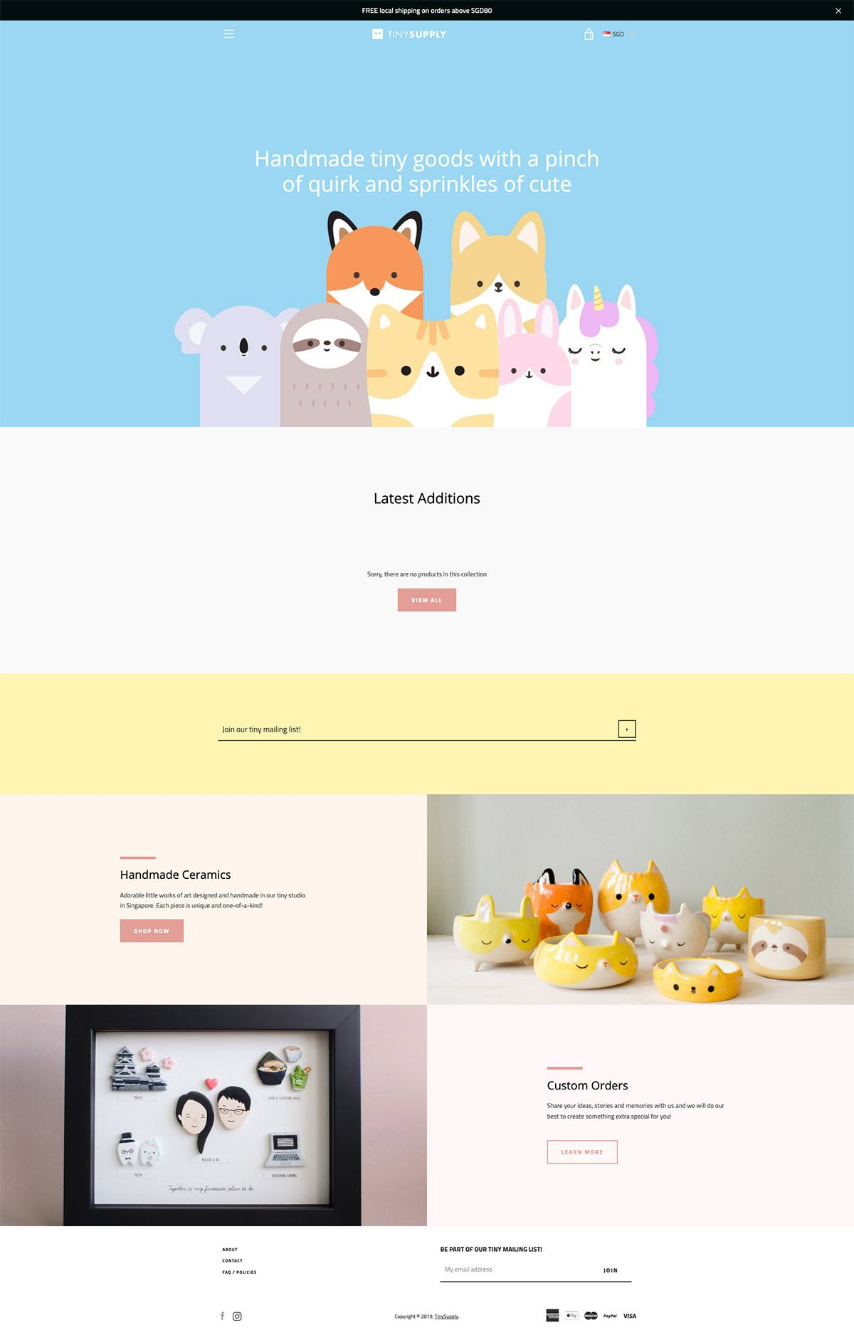 eCommerce website: Tiny Supply