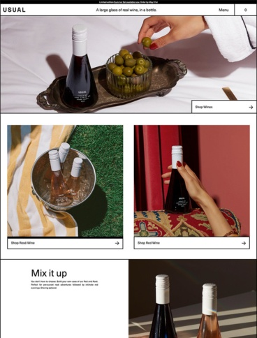 eCommerce website: Usual Wines