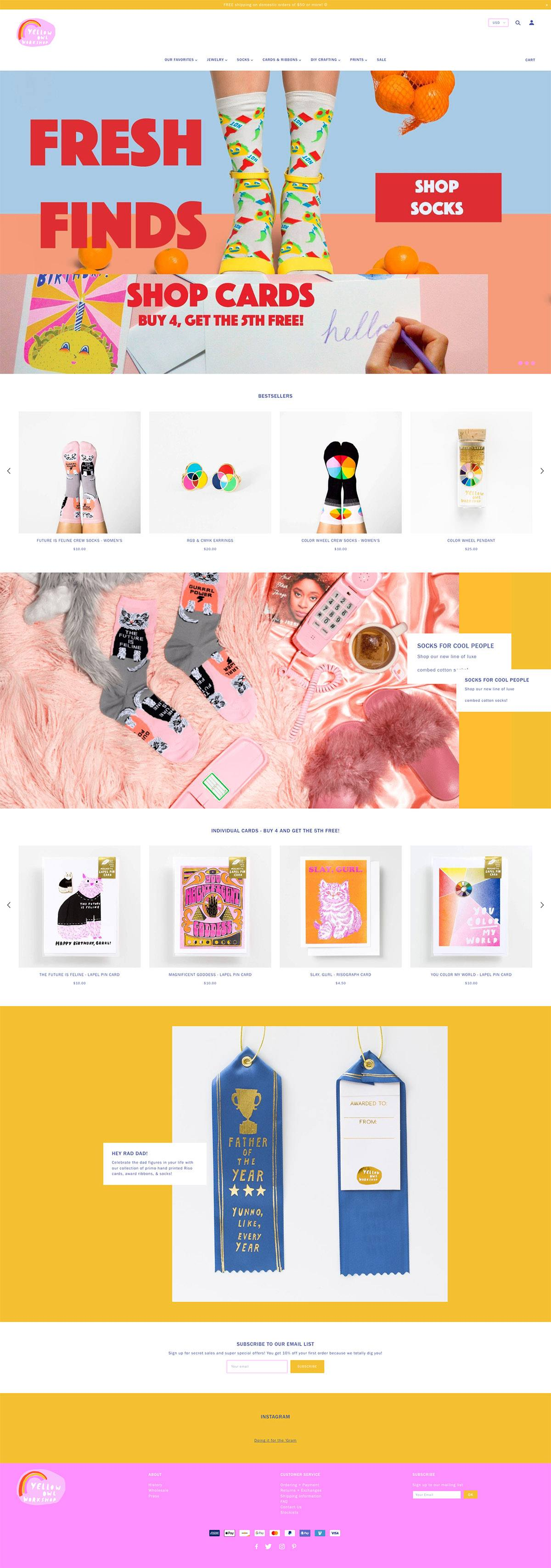 eCommerce website: Yellow Owl Workshop