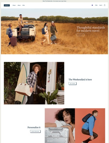 eCommerce website: Away