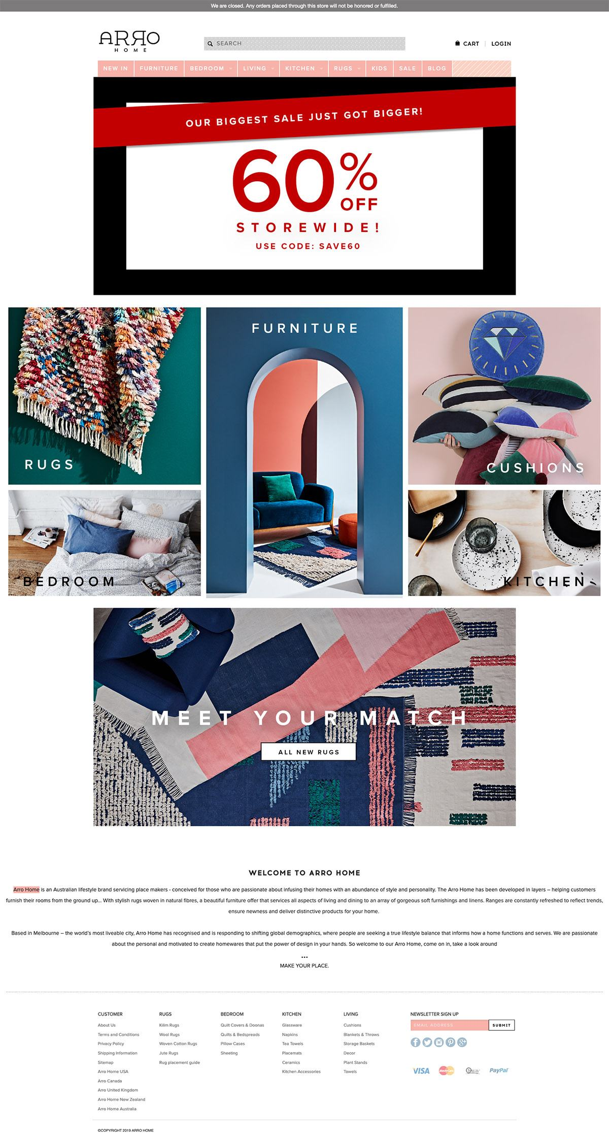 eCommerce website: Arro Home