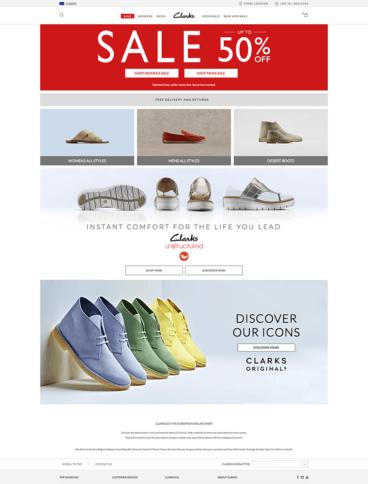 eCommerce website: Clarks