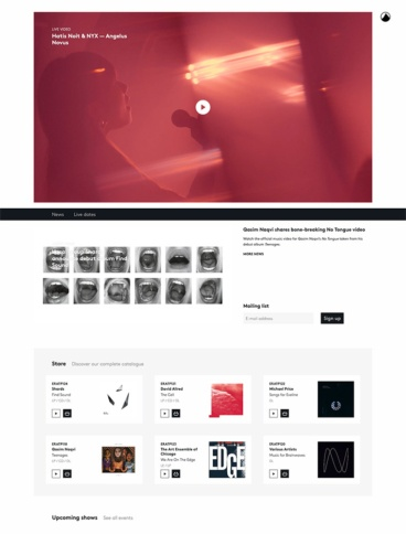 eCommerce website: Erased Tapes