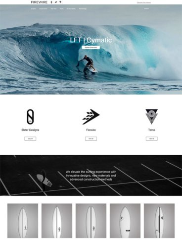 eCommerce website: Firewire Surfboards