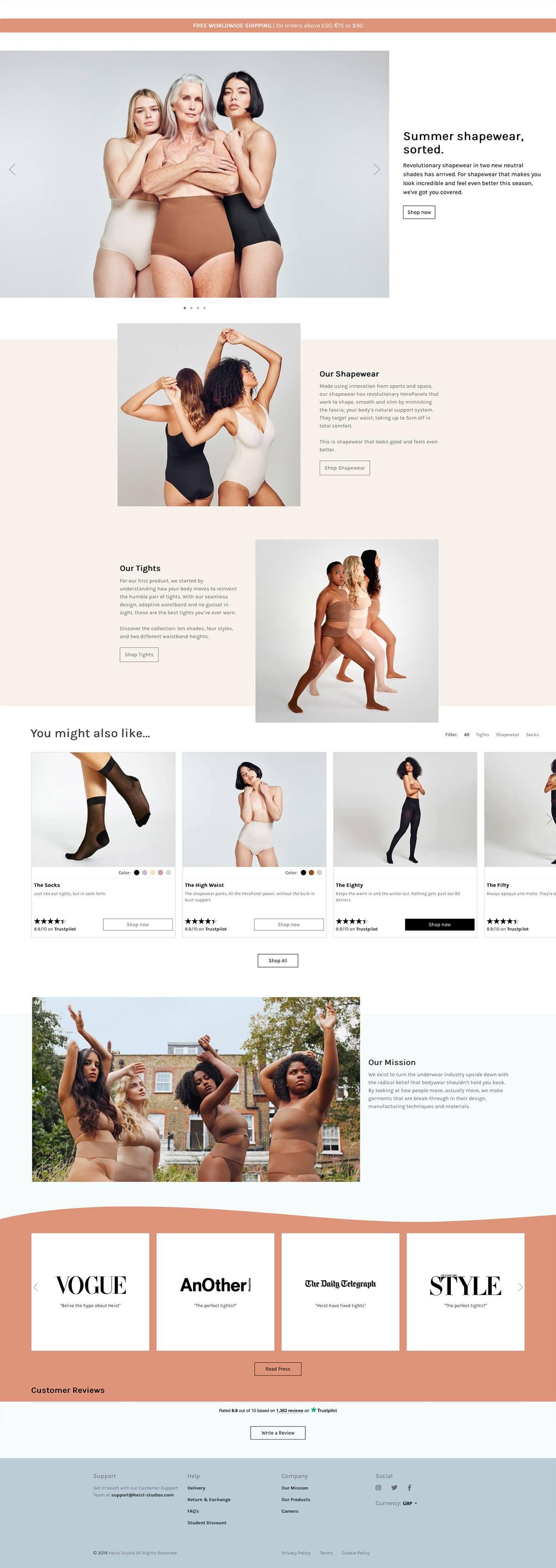 eCommerce website: Heist Studios