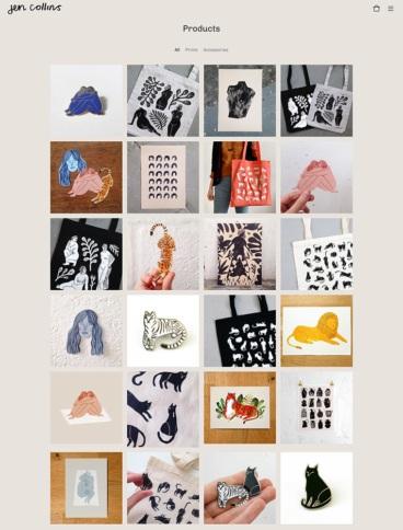 eCommerce website: Jen Collins