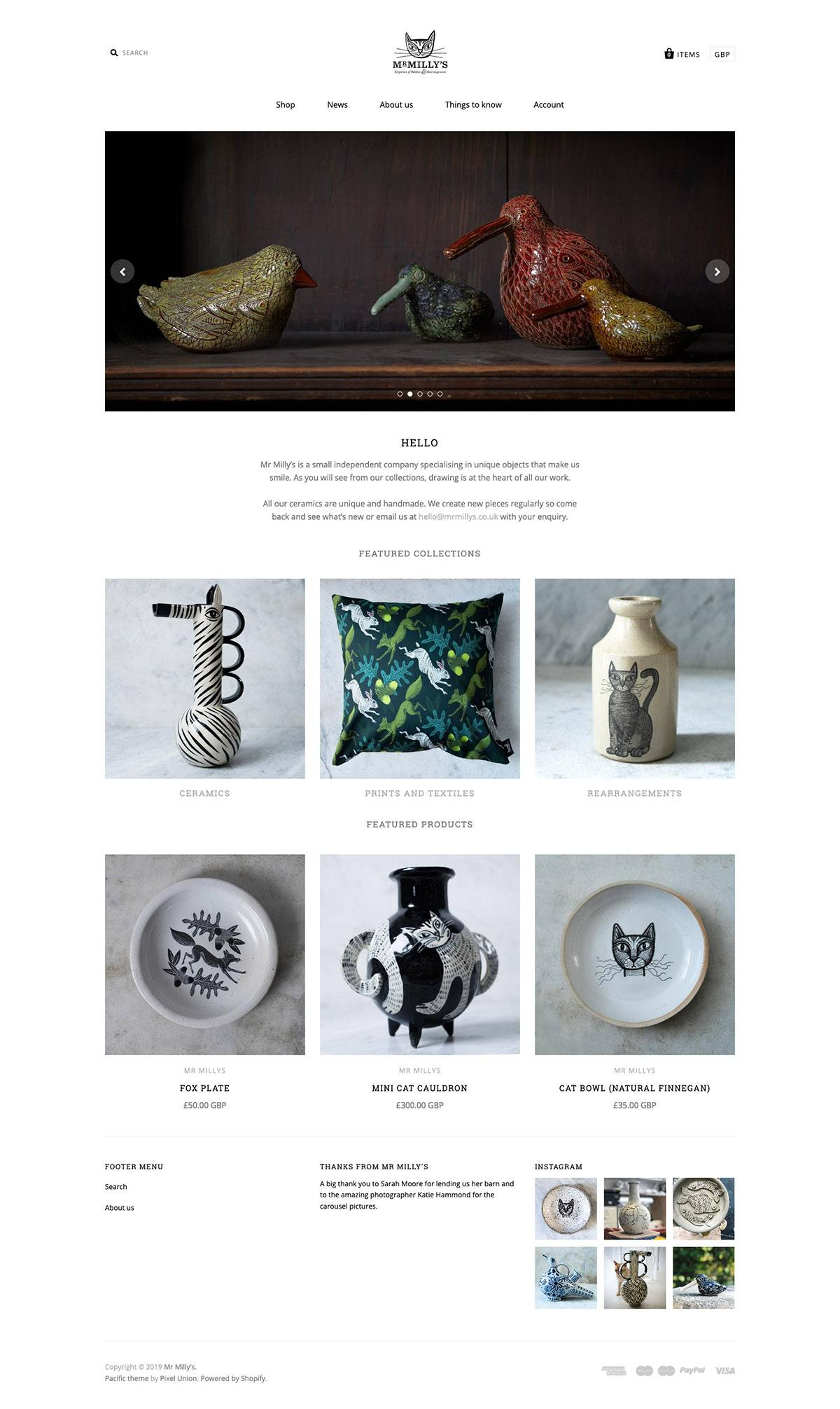 eCommerce website: Mr Milly's