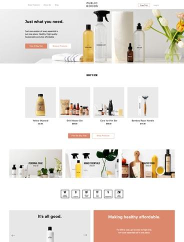 eCommerce website: Public Goods